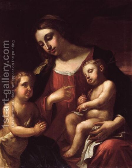 The Madonna And Child With Saint John by J. Lassini - Reproduction Oil Painting