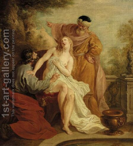 Susanna And The Elders by (after) Francois Lemoine (see Lemoyne) - Reproduction Oil Painting