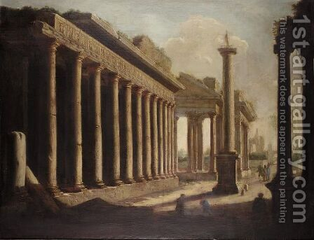 An Architectural Capriccio With Figures Amongst Ruins With The Anthonine Column by (after) Ascanio Luciano - Reproduction Oil Painting