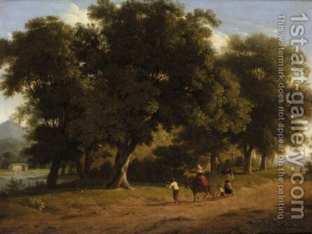An Italianate Landscape With Figures And Their Donkey On A Road Before A Copse by (after) Alexandre-Hyacinthe Dunouy - Reproduction Oil Painting