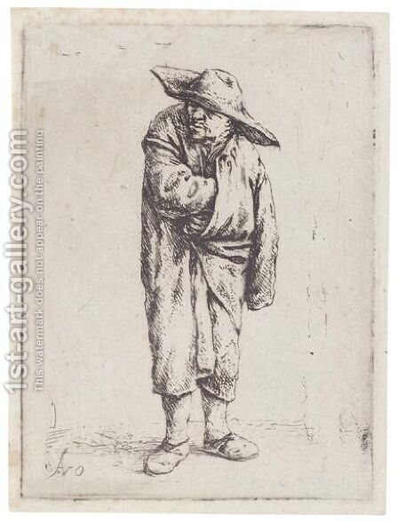 Peasant With His Hand In His Cloak by Adriaen Jansz. Van Ostade - Reproduction Oil Painting