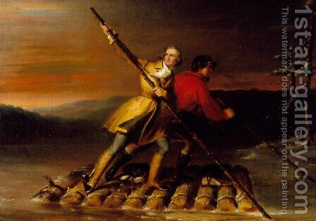 George Washington And Christopher Gist On The Allegheny River by Daniel Huntington - Reproduction Oil Painting
