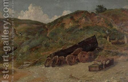 Study Of Boat And Lobster Pots, West Lulworth by Jasper Francis Cropsey - Reproduction Oil Painting
