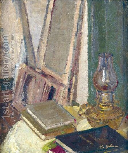 Studio Interior With Oil Lamp by Harold Gilman - Reproduction Oil Painting