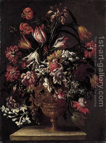 Natura Morta Con Vaso Di Fiori by (after) Jean-Baptiste Monnoyer - Reproduction Oil Painting