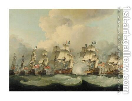 Lord Howe's Victory, The Glorious 1st June, 1794 Queen Charlotte In Close Action With Montagne by (after) Robert Dodd - Reproduction Oil Painting