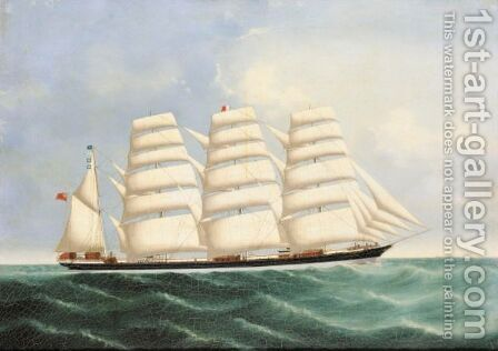 Clipper Ship 'Trade Winds' , 862 Tons, Built St. John, N.B. 1853 by Anglo-Chinese School - Reproduction Oil Painting