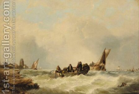 Hauling In The Nets by Alfred Montague - Reproduction Oil Painting