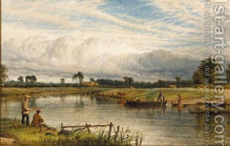 Fishing On The Trent by Henry Thomas Dawson - Reproduction Oil Painting