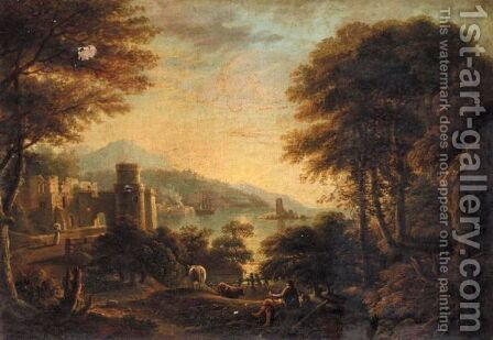 An Extensive Italianate Landscape With A Herdsman Resting In The Foreground And An Harbour Beyond by (after) Coplestone Warre Bampfylde - Reproduction Oil Painting