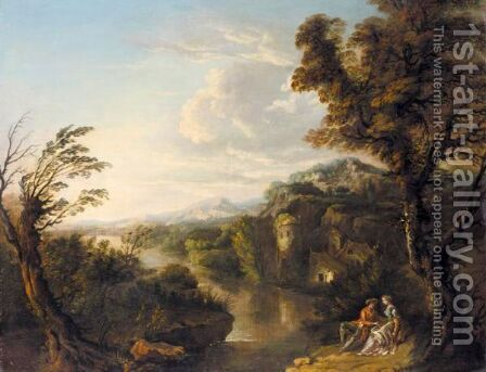 Lovers Reclining Under A Tree In An Extensive River Landscape by (after) George Barret - Reproduction Oil Painting