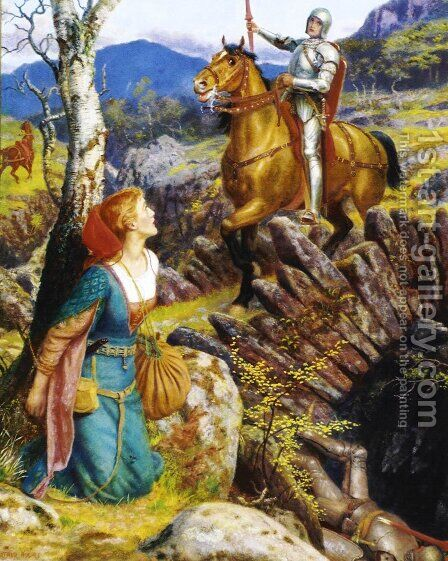 The Overthrowing Of The Rusty Knight by Arthur Hughes - Reproduction Oil Painting
