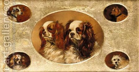 A Jack Russell, A Terrier, A Spaniel, A West Highland Terrier, Two King Charles Spaniels by Alfred Wheeler - Reproduction Oil Painting