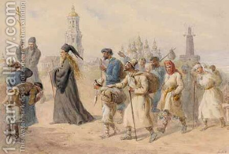 Pilgrimage To The Kiev-Pecherskaya Lavra by Carl Goebel - Reproduction Oil Painting
