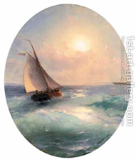 Sailing Boat At Sunset Flying The Russian Tricolour by Ivan Konstantinovich Aivazovsky - Reproduction Oil Painting