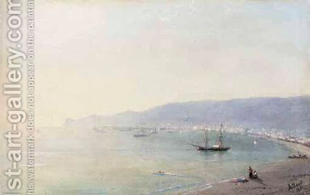 Sailing Boat Off Yalta, Ayu Dag Beyond by Ivan Konstantinovich Aivazovsky - Reproduction Oil Painting