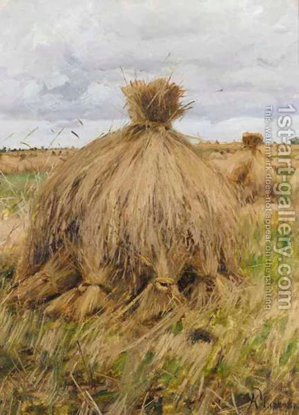Hayricks by Alexander Innokentovich Chirkov - Reproduction Oil Painting