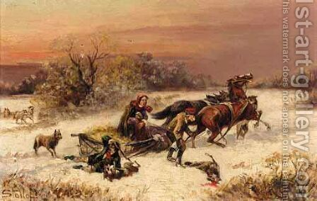 A Pair Of Hunting Scenes by (after) Konstantin Stoilov - Reproduction Oil Painting