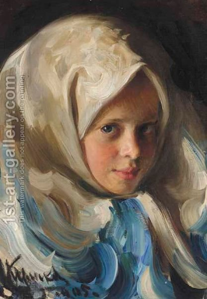 Young Girl In Blue Headscarf by Ivan Semenovich Kulikov - Reproduction Oil Painting