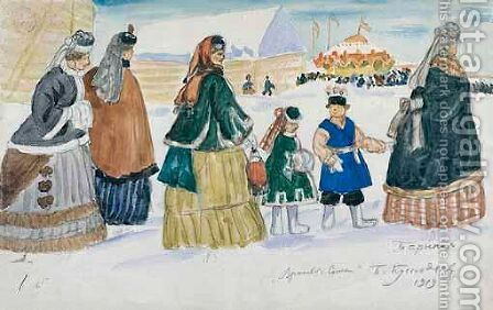 On The Way To The Fair by Boris Kustodiev - Reproduction Oil Painting