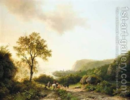 Cattle Drivers In A Landscape Overlooking The Rhine by Barend Cornelis Koekkoek - Reproduction Oil Painting