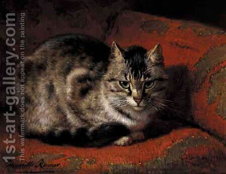 Tabby On A Red Settee by Henriette Ronner-Knip - Reproduction Oil Painting