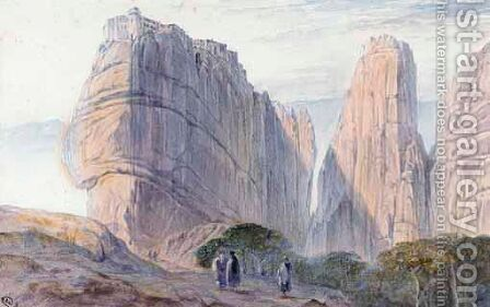The Monastery Of Baarlam, Meteora by Edward Lear - Reproduction Oil Painting