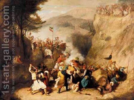 Greeks And Turks - The Battle Of Klissura, Epirius, 1792 by Denis Dighton - Reproduction Oil Painting