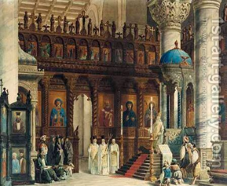 The Interior Of A Byzantine Church by Cornaglia Carlo - Reproduction Oil Painting