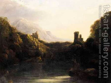 Vista Over Ruined Castle by (after) Thomas Barker Of Bath - Reproduction Oil Painting