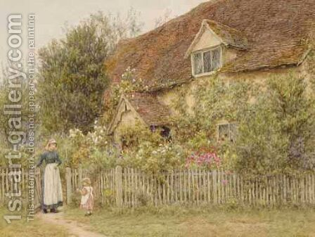 An Old Farm, Pinner by Helen Mary Elizabeth Allingham, R.W.S. - Reproduction Oil Painting