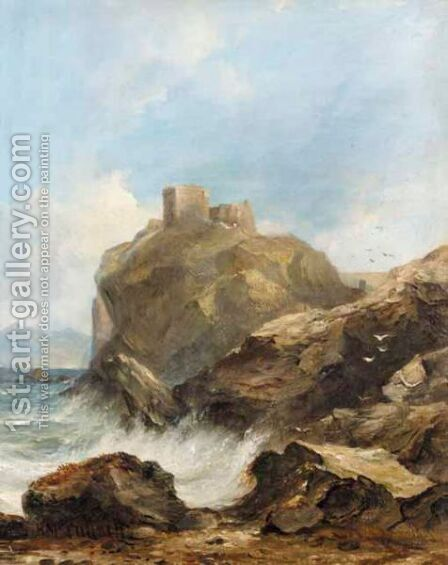 Dunure Castle, Ayrshire by Horatio McCulloch - Reproduction Oil Painting
