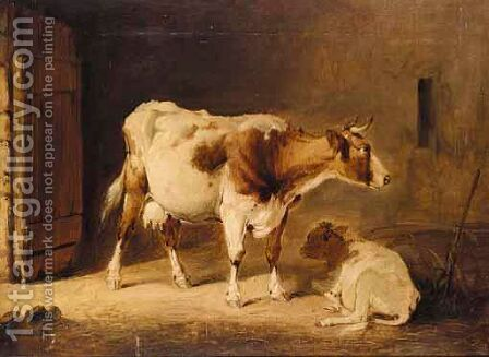 A Cow And Her Calf In A Stall by (after) Thomas Sidney Cooper - Reproduction Oil Painting