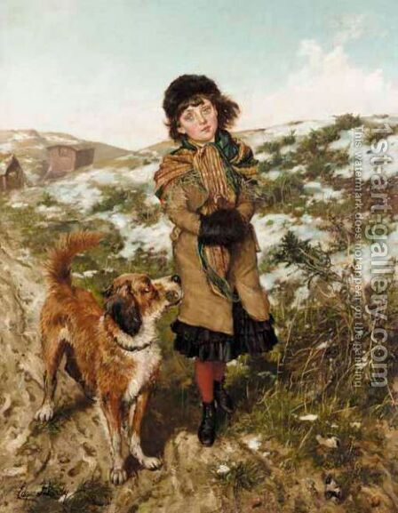 A Winter Walk by Edgar Bundy - Reproduction Oil Painting