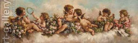 Putti Disporting In The Clouds by Charles Augustus Henry Lutyens - Reproduction Oil Painting