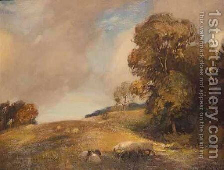 Sheep In An Autumnal Landscape by Algernon Mayon Talmage - Reproduction Oil Painting