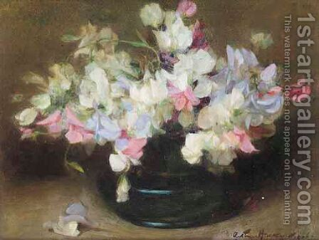 Study Of Sweet Peas by Arthur Hacker - Reproduction Oil Painting