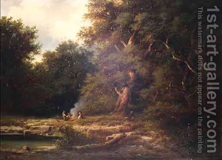A Woodland Camp by Albert Rieger - Reproduction Oil Painting