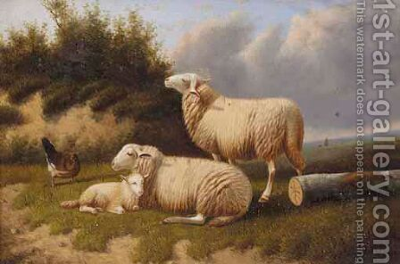 Sheep Resting by Jacob Van Dieghem - Reproduction Oil Painting