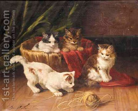 Kittens Playing by Alphonse de Neuville - Reproduction Oil Painting
