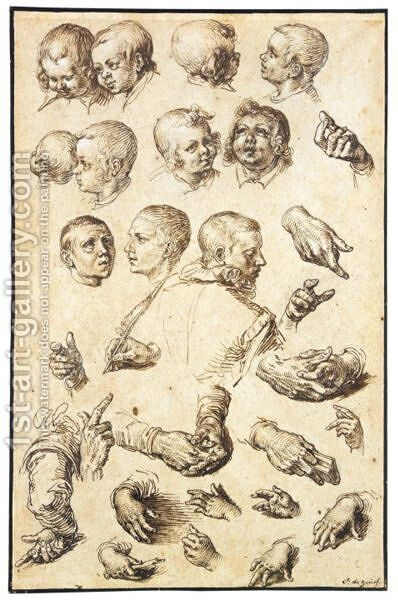 Sheet Of Studies Of Heads, Arms, Hands And A Youth Seen From Behind by Jacques de Gheyn - Reproduction Oil Painting