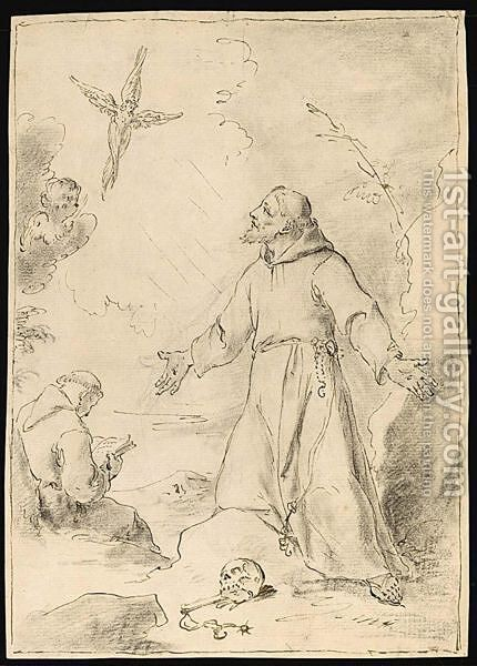 The Vision Of St. Francis by (after) Cornelius I Schut - Reproduction Oil Painting