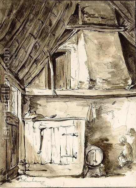 A Corner Of A Barn Interior by (after) Thomas Wijck - Reproduction Oil Painting