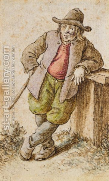 A Male Peasant Leaning To The Right, With Hat And Stick by Herman Saftleven - Reproduction Oil Painting