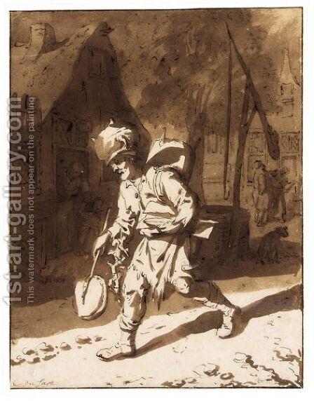 A Tinker Walking Down A Village Street by Cornelis Dusart - Reproduction Oil Painting