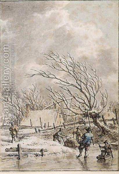 Winter Landscape With Skaters by Jacob Cats - Reproduction Oil Painting