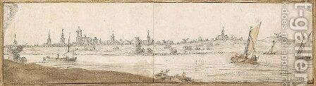 Panoramic Landscape With Boats On A River, And A Town Behind by Abraham de Verwer - Reproduction Oil Painting