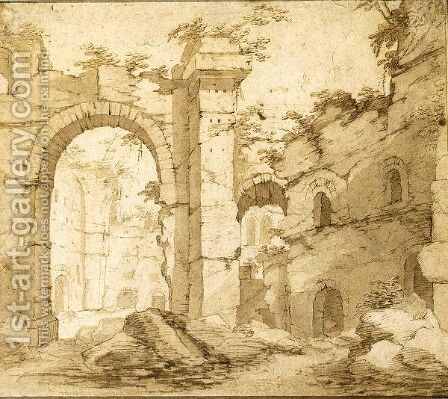 A Roman Ruin by (after) Justus Brouwer - Reproduction Oil Painting