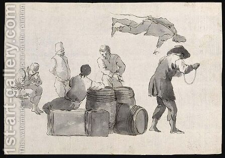Studies Of Italianate Figures With Barrels by Dutch School - Reproduction Oil Painting
