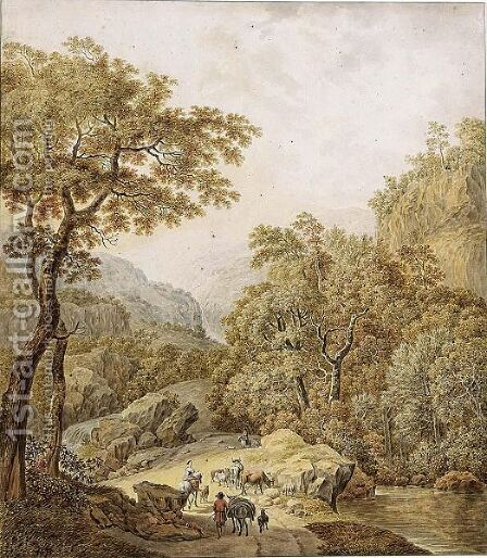 An Extensive Mountainous Landscape With Waterfalls And Peasants With Their Flocks On A Path, After Jan Hackert by Daniel Dupre - Reproduction Oil Painting